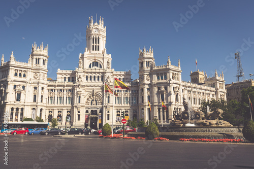 Staande foto Madrid Madrid,Spain-May 27,2015: Cibeles Palace and fountain at the Plaza de Cibeles in Madrid, Spain
