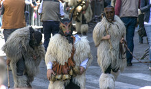 """SASSARI, ITALY - May 21th, 2017 - Sardinian Ride Parade - Man Dressed In Sardinian Traditional Costumes - Boes And Merdules """"The Guardians Of The Oxen"""", From Ottana."""