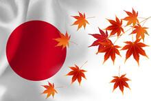 日本  国旗 紅葉 背景