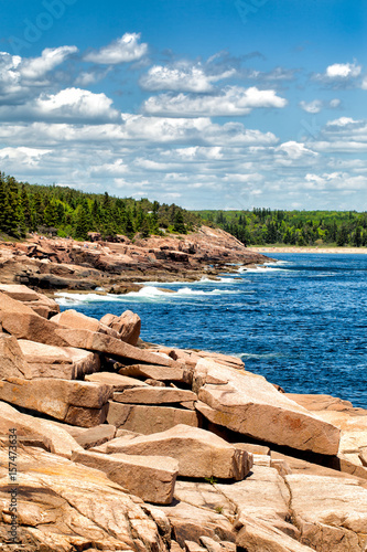 Keuken foto achterwand Natuur Park Acadia National Park dramatic rocky coastline. Maine, USA. Popular Sand Beach is in the distance.