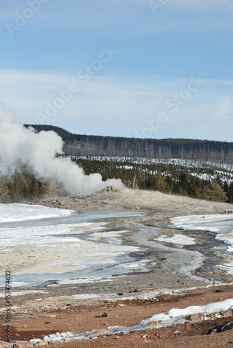 Fotografie, Obraz  Old Faithful Erupting, Winter, Yellowstone NP