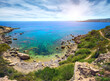 Beautiful sea landscape on the way from Protaras to Ayia Napa around Cape Greco, Cyprus