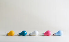 Colored Light Bulbs In A Collection