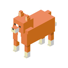 Fox Modular Animal Plastic Lego Toy Blocks And Bricks Vector Illustration