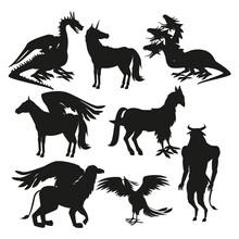 Set Black Silhouette Animal Greek Mythological Creatures Vector Illustration