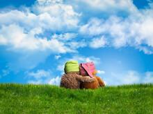 Two Embracing Teddy Bear Sitti...