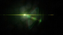 Bright Green Star In Outer Space