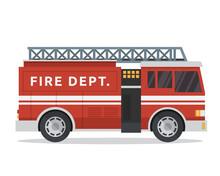 Modern Flat Urban Vehicle Illustration Logo - Fire Fighter