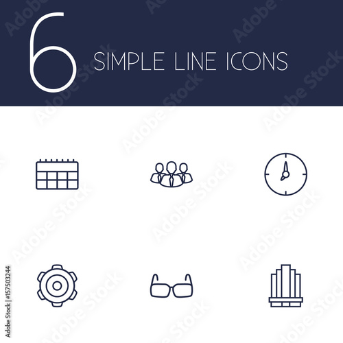 Fototapeta Set Of 6 Trade Outline Icons Set.Collection Of Team, Calendar, Business Center And Other Elements. obraz na płótnie