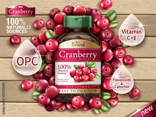 Photo cranberry dietary supplement