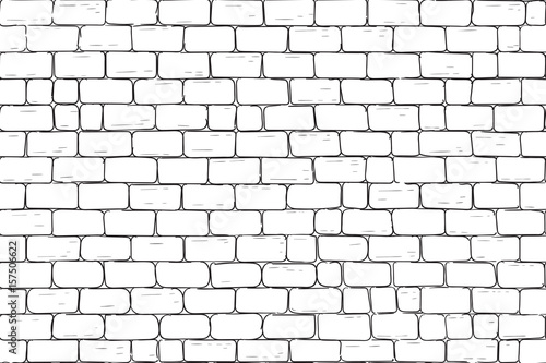 White bricks wall. Seamless pattern background