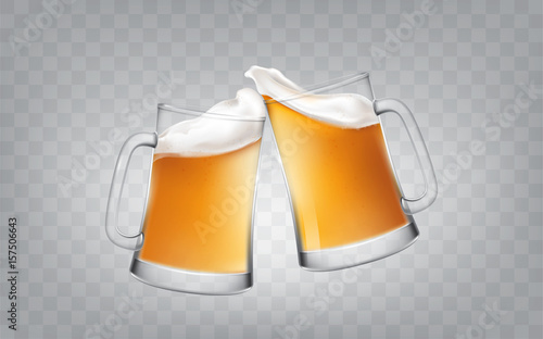 Fotografía  Vector illustration of a realistic style two glass toasting mugs with beer, cheers beer glasses