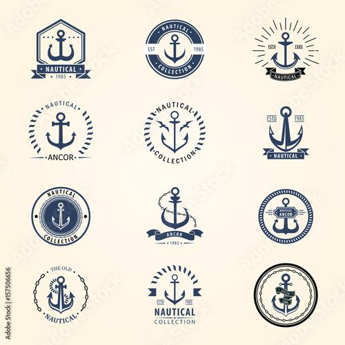 Canvas Print Vintage retro anchor badge vector sign sea ocean graphic element nautical naval