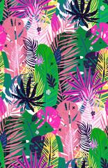 NaklejkaSeamless exotic pattern with mottled tropical palm leaves, summer background. Vector botanical illustration, design elements.
