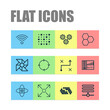 Artificial Intelligence Icons Set. Collection Of Recurring Program, Information Base, Information Components And Other Elements. Also Includes Symbols Such As Loop, Fan, Cogwheels.