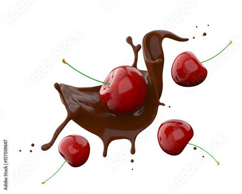 Rozprysk czekolady z wiśniami