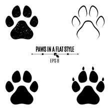 A Set Of Dog's Paws. Black Tra...