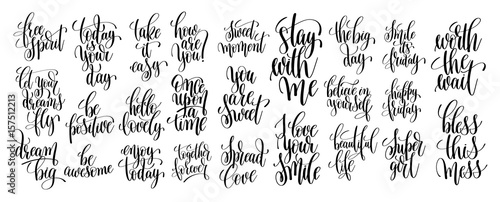 In de dag Positive Typography set of 25 hand written lettering motivational quotes