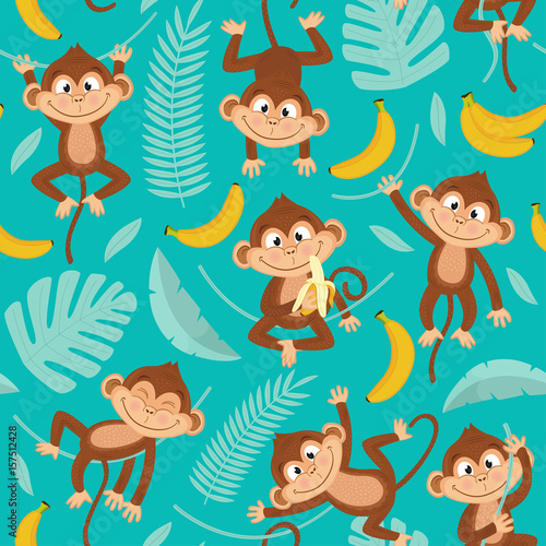 Poster Artificiel seamless pattern with monkey on blue background - vector illustration, eps