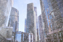 City Skyscrapers Snow Snowfall