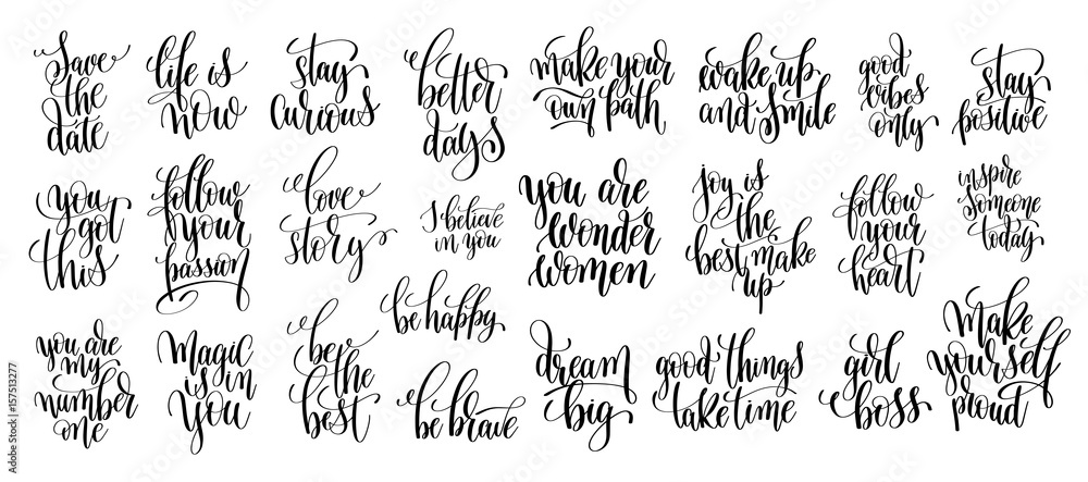 set of 25 hand written lettering motivational quotes