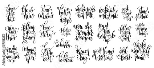 set of 25 hand written lettering motivational quotes Canvas-taulu