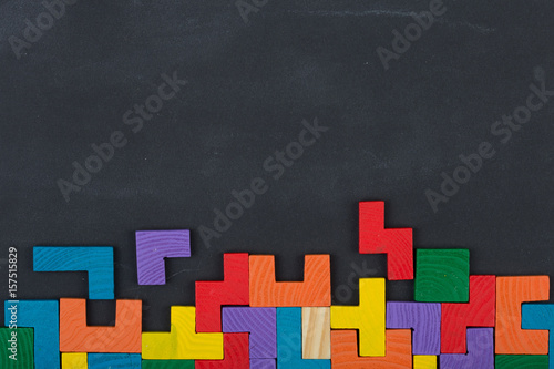 Fotografía  Business creative solution concept jigsaw on the blackboard