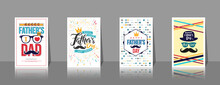 Set Of Father's Day Brochures,Poster Or Banner In Vintage Style.Set Of Happy Fathers Day Greeting Card On Shelf.Vector Of Love Dad Concept.