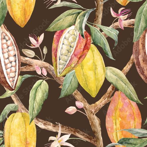 Fotografía Watercolor cacao pattern