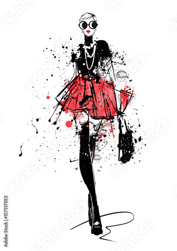 Fashion girl in sketch-style. Wall mural