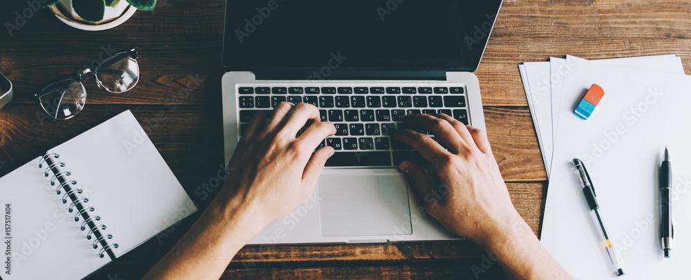 Fototapeta Man Working On Laptop