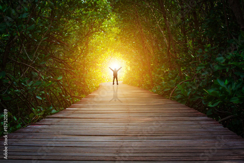 Fotografia Concept the end of the tunnel there is light ,victory