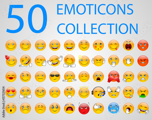 Set of emoticons, emoji isolated on white background. Vector illustration