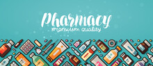 Pharmacy Banner. Medicine, Medical Supplies, Hospital Concept. Vector Illustration In Flat Style