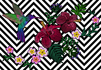 FototapetaHawaii flower embroidery black white seamless stripe background. Fashion print decoration plumeria hibiscus palm leaves. Tropical exotic blooming bird hummingbird vector illustration