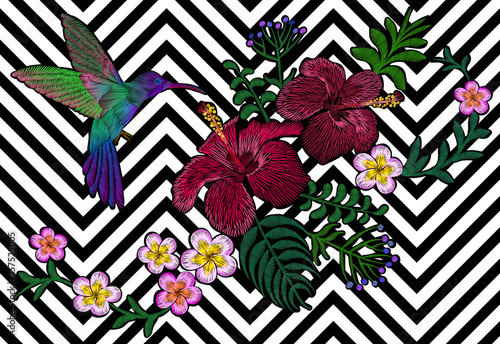 Hawaii flower embroidery black white seamless stripe background. Fashion print decoration plumeria hibiscus palm leaves. Tropical exotic blooming bird hummingbird vector illustration - 157525005