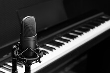 Condenser Microphone On Piano Background, Black And White