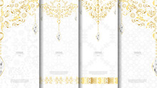 Islamic Pattern Element Concept Template White And Gold Texture Vintage Background And Logo Vector Design