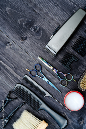 Photo  Hairdresser tools on wooden background