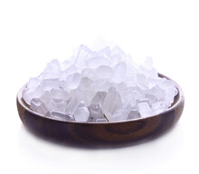 Rock Sugar In Dish Wood On White Background