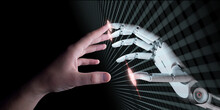 Hands Of Robot And Human Touching. Virtual Reality Concept 3d Illustration