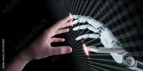 Photo Hands of Robot and Human Touching