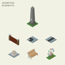 Isometric City Set Of Recreation, Barrier, Dc Memorial And Other Vector Objects. Also Includes Washington, Plants, Dc Elements.