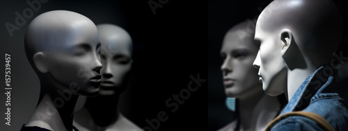 Photo dummy with human face imitating people conversation, fashion