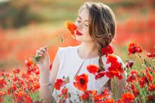 Beautiful Girl In Field Of Poppy Flowers, Spring Time
