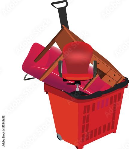 Valokuva  carrello spesa con mobili d'arredamento per casa