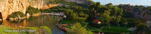 Spring photo of famous Lake Vouliagmeins, Athens riviera, Attica, Greece Wallpaper Mural