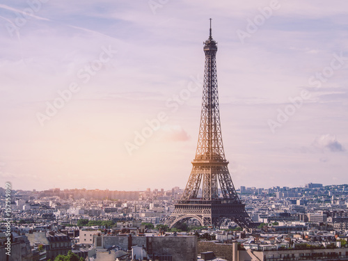 Recess Fitting Paris Paris cityscape with Eiffel tower in twilight. view of Eiffel tower from Are de Triomphe