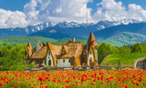 Fototapeta Góry - Clay Castle of the Valley of Fairies, Porumbacu village, Sibiu landmark, Romania