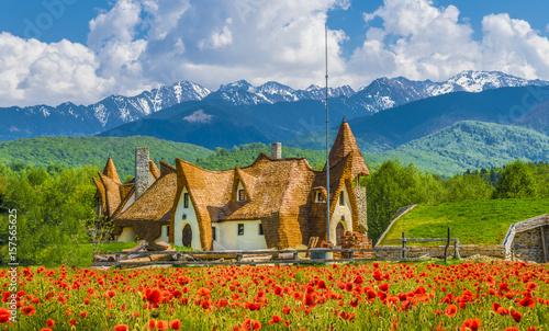 Photo  Clay Castle of the Valley of Fairies, Porumbacu village, Sibiu landmark, Romania